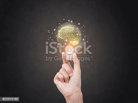 istock lightbulb brainstorming creative idea abstract icon on business hand. 622315182