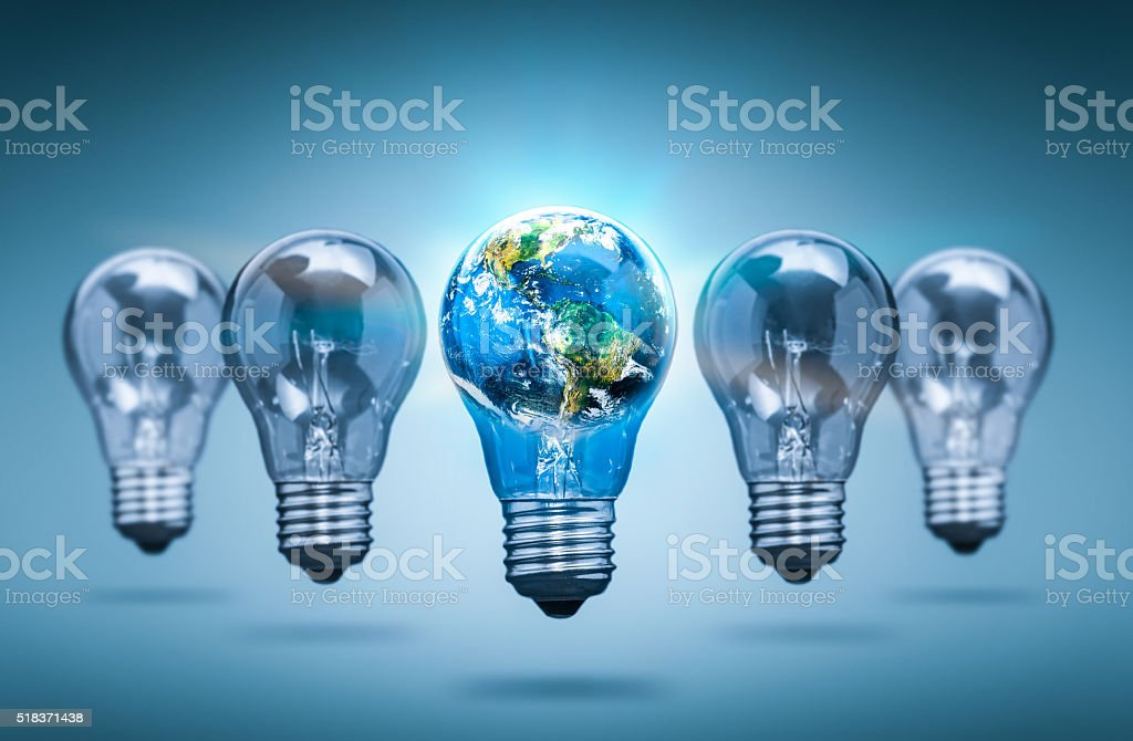 Lightbulb in the shape of the world - bulb concepts. stock photo
