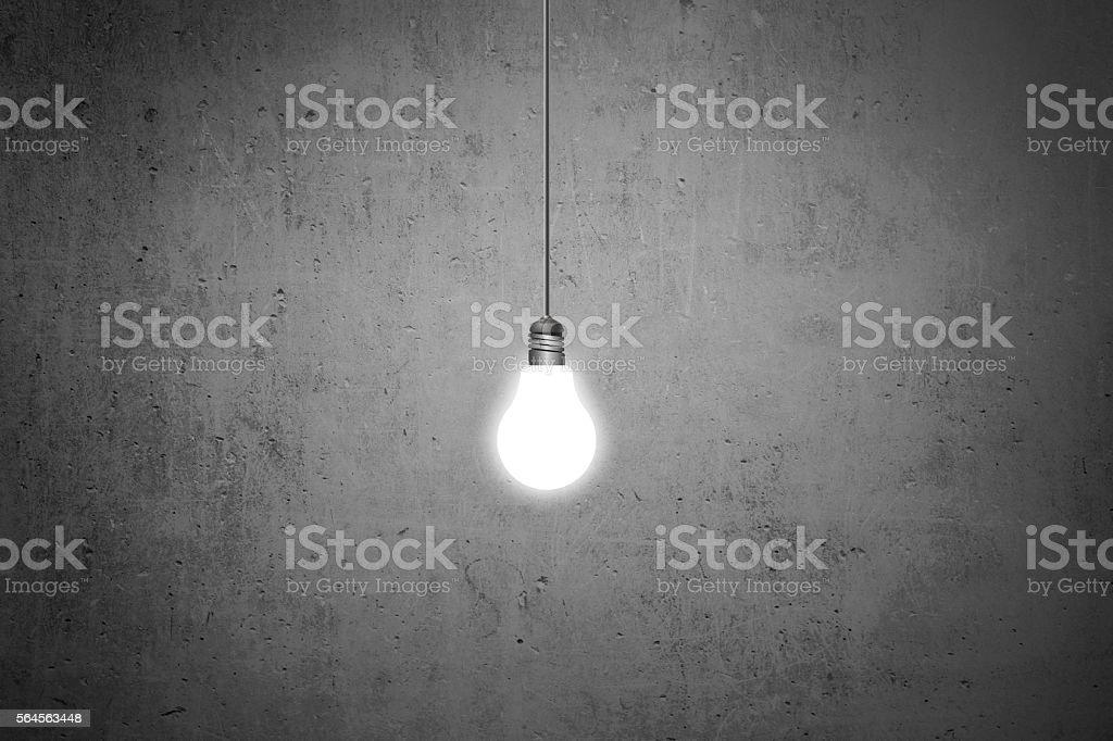 Lightbulb on blackboard stock photo