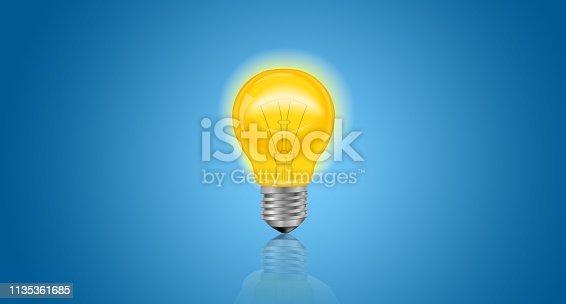 845301446 istock photo Lightbulb on blue background.Ideas creativity 1135361685