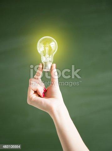 637166104 istock photo Lightbulb on Empty Blackboard 483105554