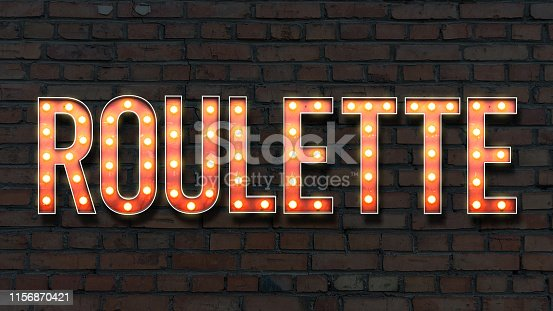 Image of lightbulb lettering on a brick wall background spelling roulette