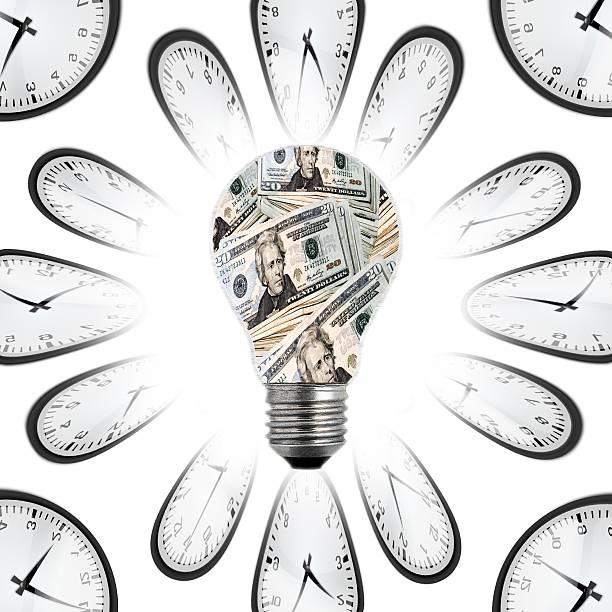 Lightbulb, Time & Money stock photo