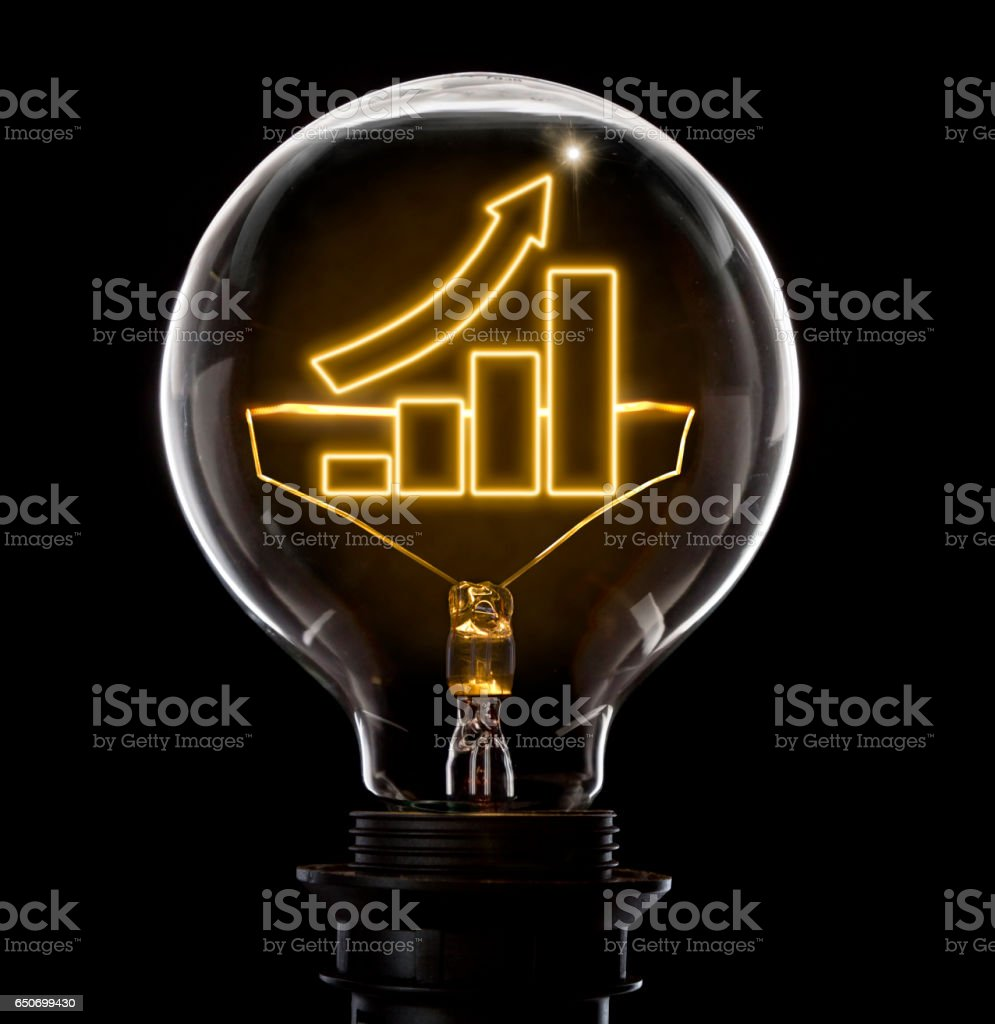 Lightbulb with a glowing wire in the shape of a growing bar chart (series) stock photo