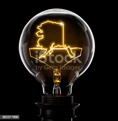 Clean and shiny lightbulb with Alaska as a glowing wire.(series)