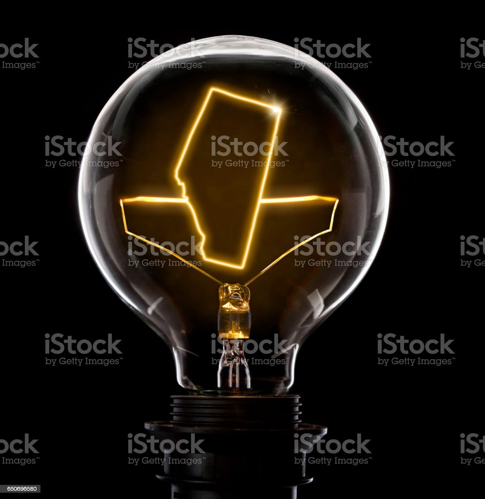Lightbulb with a glowing wire in the shape of Alberta (series) stock photo