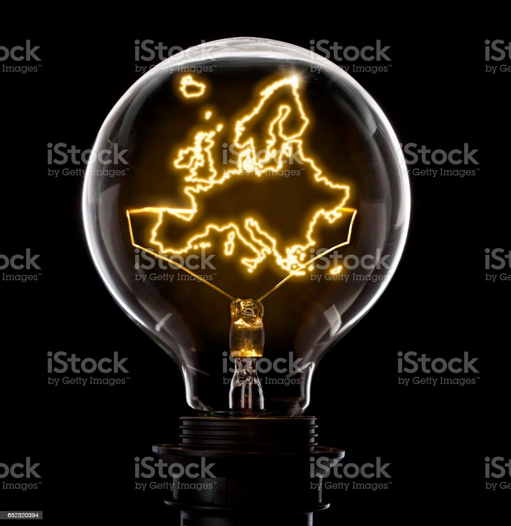 Lightbulb with a glowing wire in the shape of Europe (series) stock photo