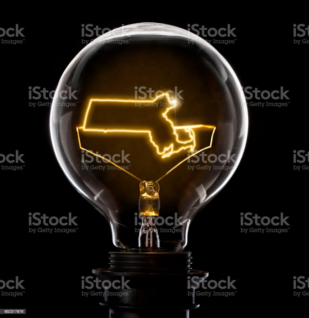 Lightbulb with a glowing wire in the shape of Massachusetts (series) stock photo