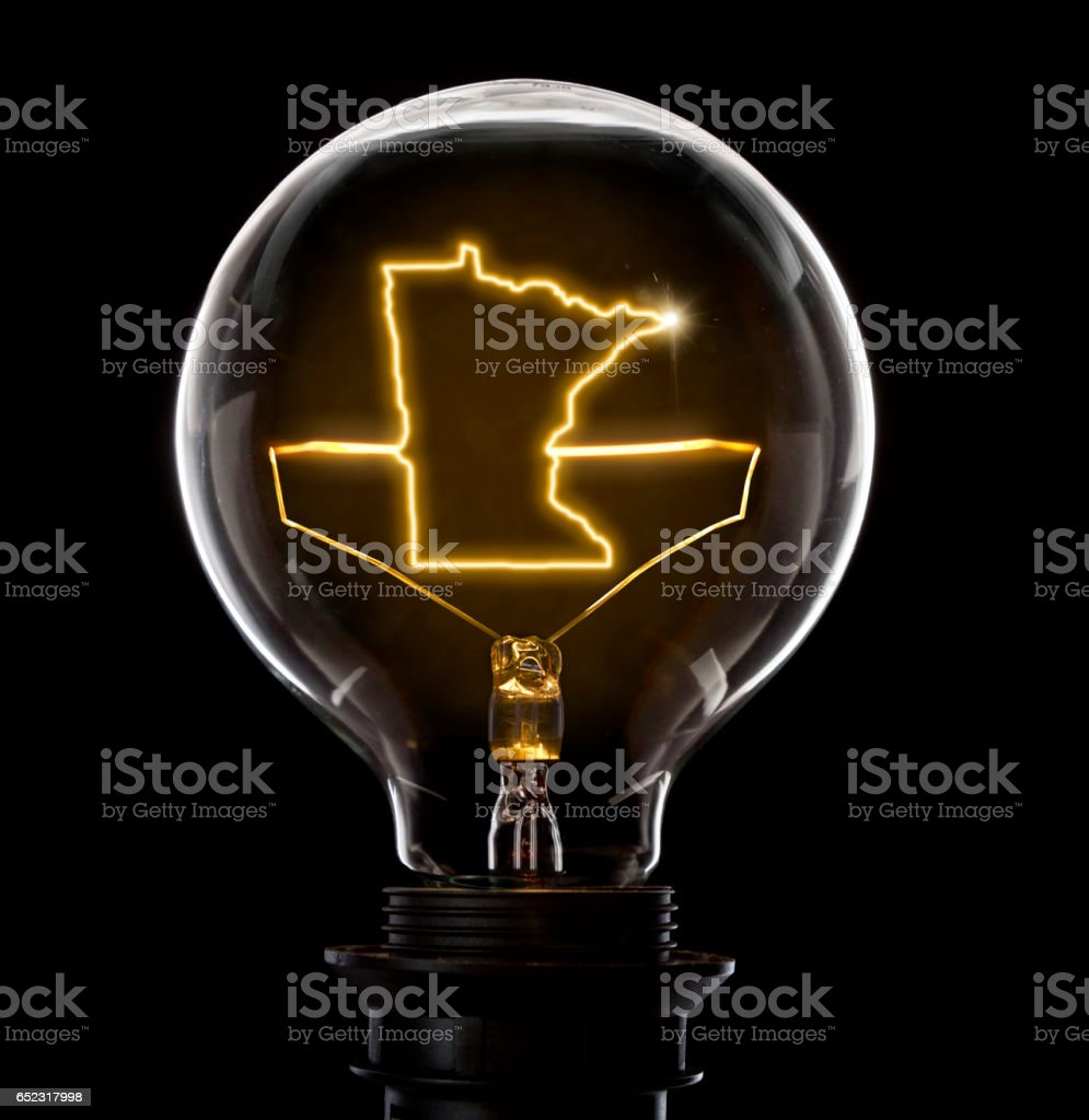 Lightbulb with a glowing wire in the shape of Minnesota (series) stock photo