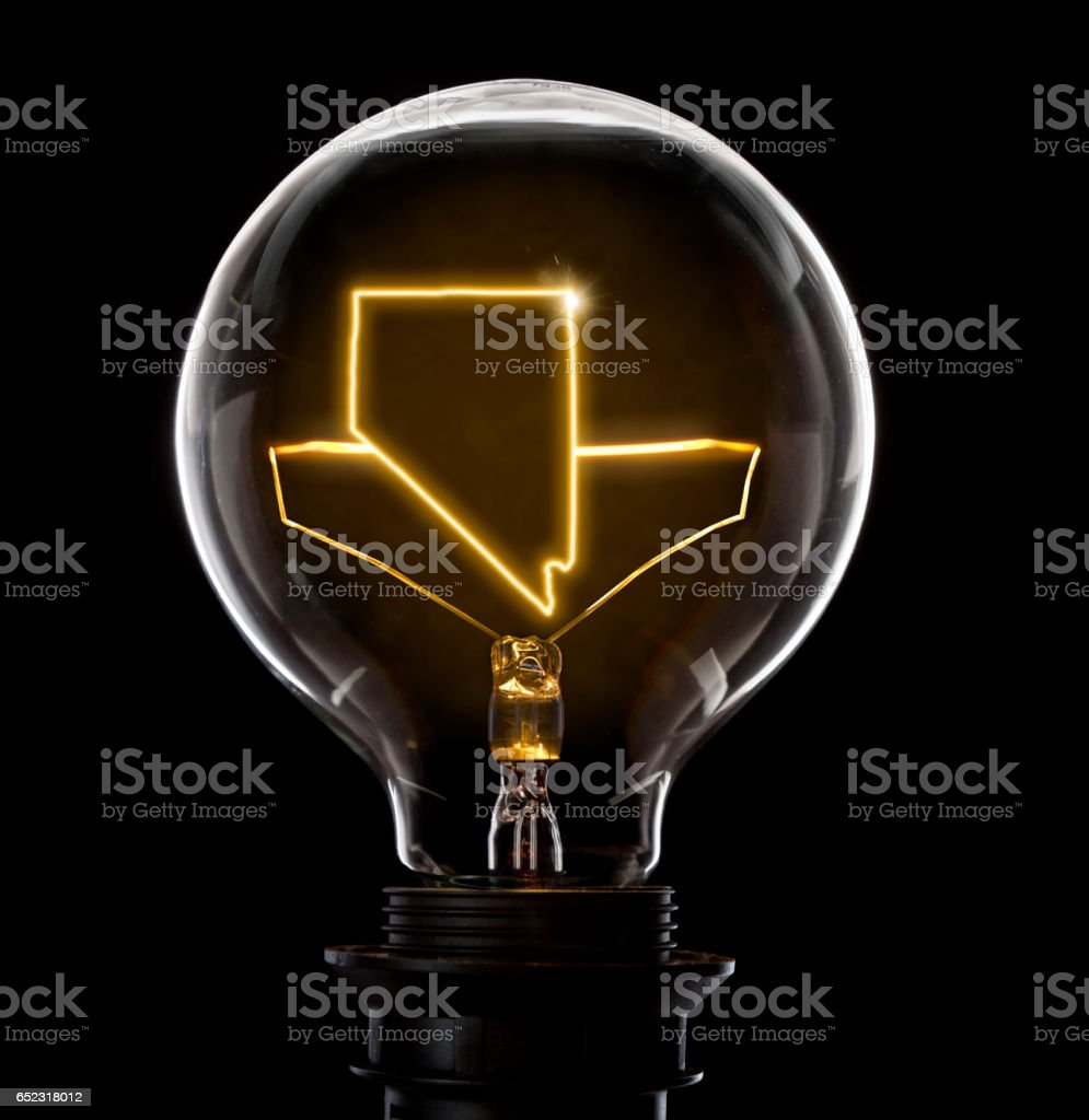 Lightbulb with a glowing wire in the shape of Nevada (series) stock photo