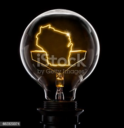 Clean and shiny lightbulb with Wisconsin as a glowing wire.(series)