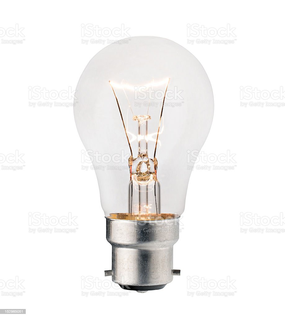 Lightbulb with Bayonet fitting Isolated on White royalty-free stock photo