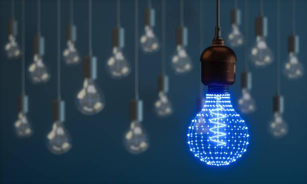 Glühbirne mit Verbindenden Punkten – Foto