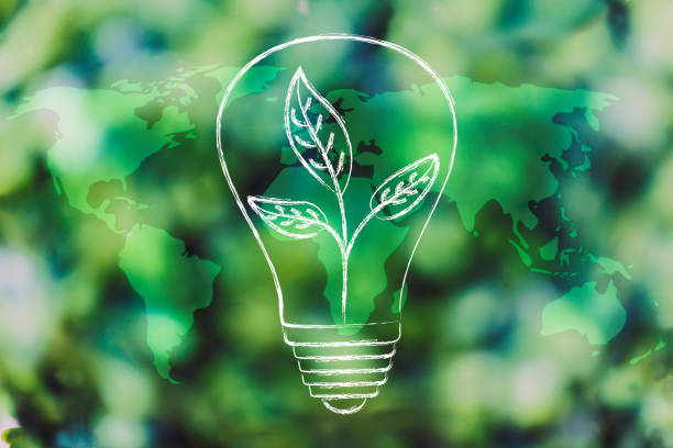 lightbulb with leaves inside over world map overlay on green forest bokeh lightbulb with leaves inside, green minimalistic illustration on forest bokeh background with world map overlay green economy stock pictures, royalty-free photos & images