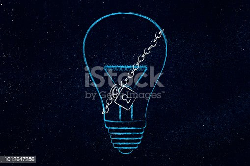 istock lightbulb with lock and chain 1012647256