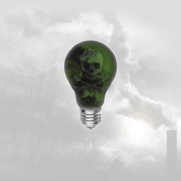 Lightbulb with Skull & Crossbones stock photo