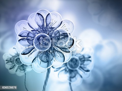 Background with lightbulbs forming a flower shaped pattern and soft colors.