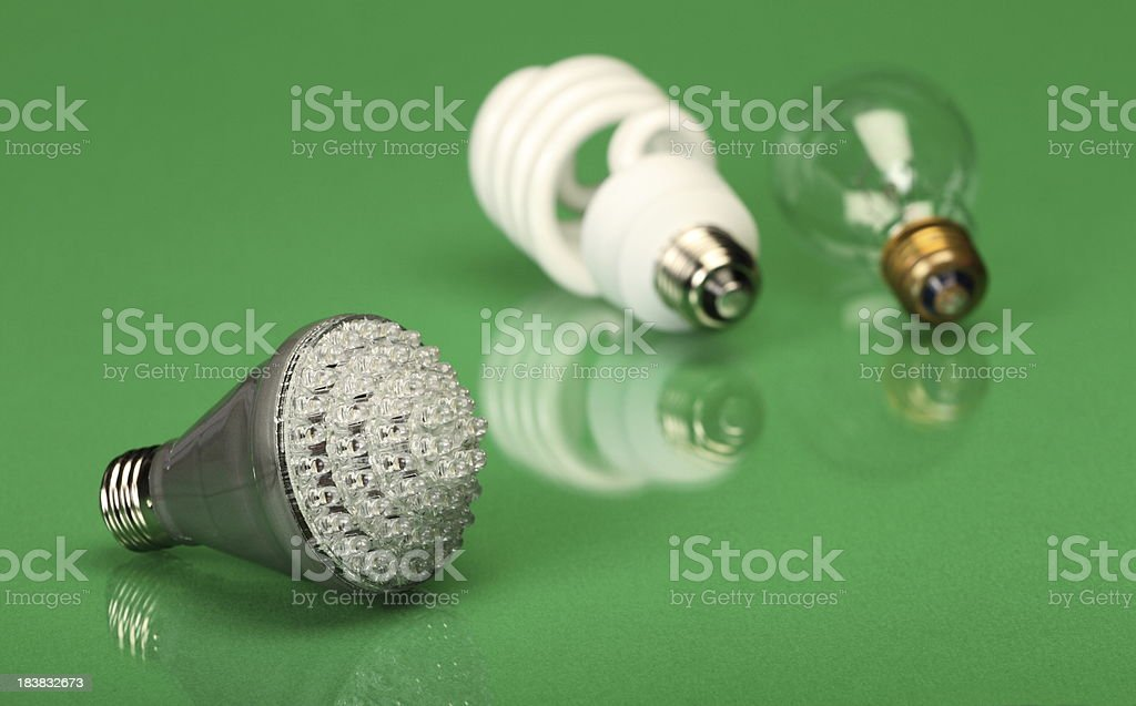 Lightbulbs on Green Background royalty-free stock photo