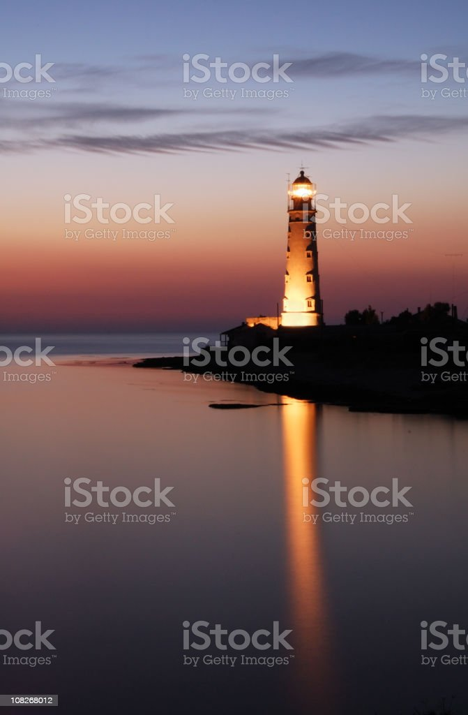 Lightdouse and sunset royalty-free stock photo
