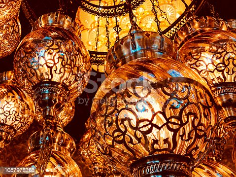 Lights, Decoration, Interior, Elements, Luxury - High Contrast Image of a Lighted Chandeliers