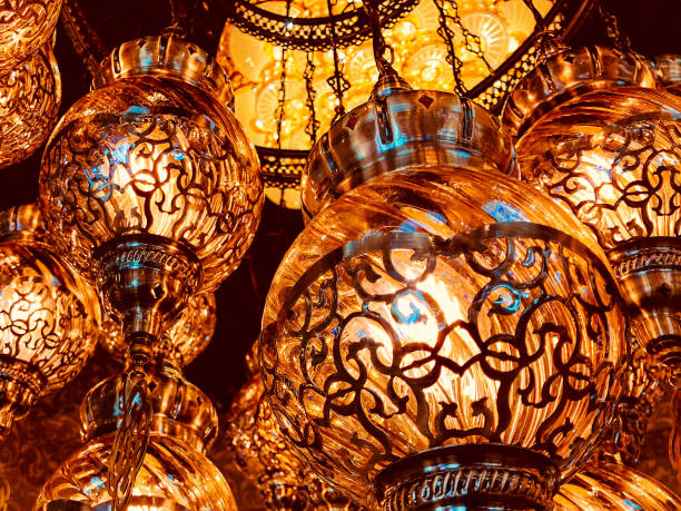 Lighted Chandeliers at a Bazar stock photo