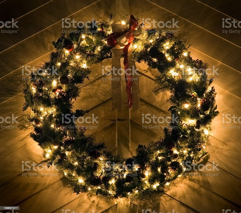 Lighted Christmas Wreath stock photo