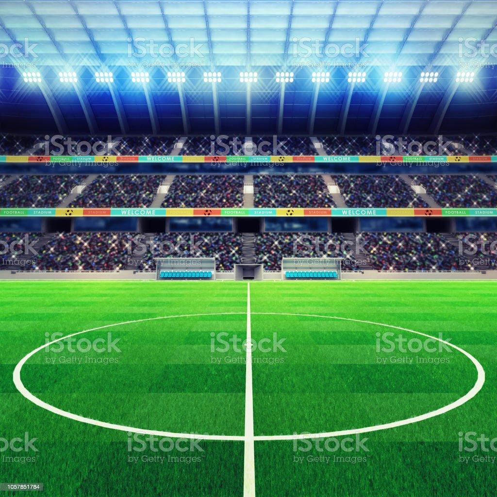 Beleuchtete Fussball Stadion Mitte Mit Fans Auf Der Tribune