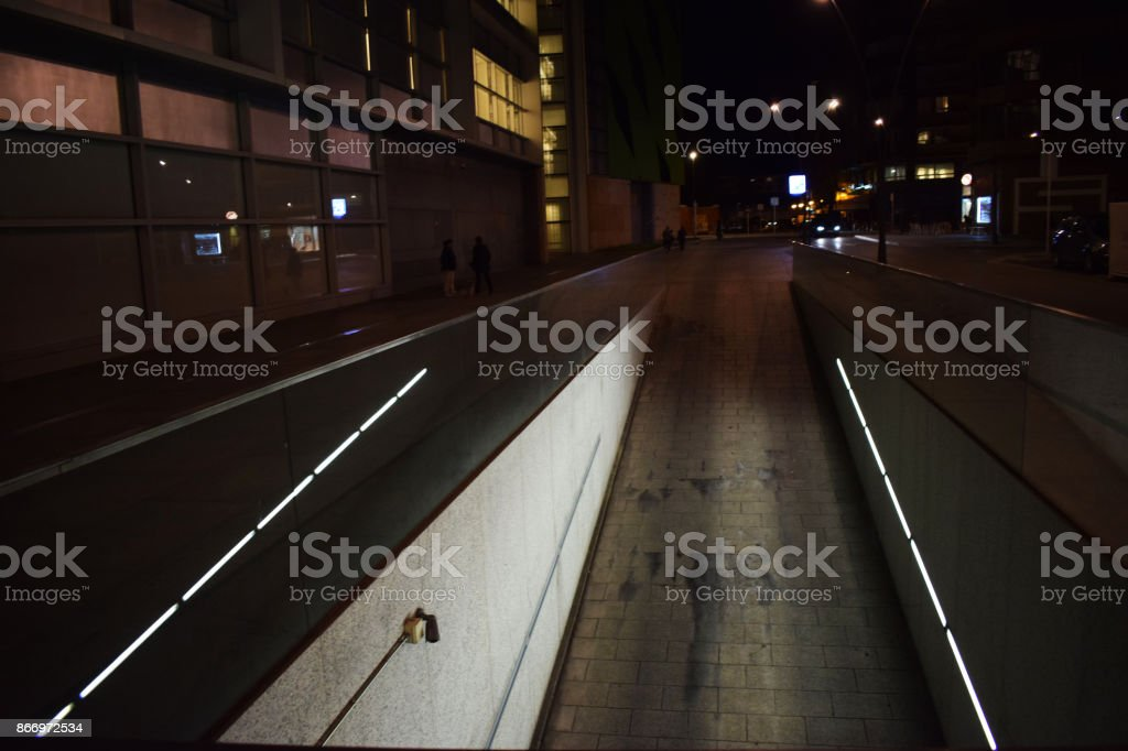 Lighted garage parking. stock photo