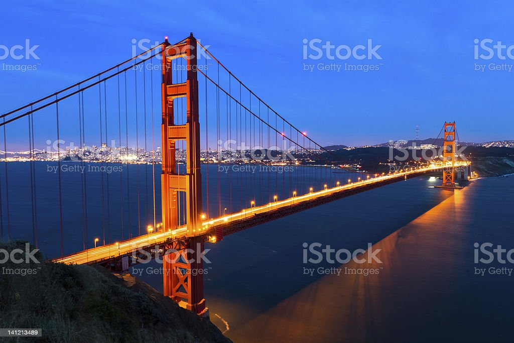 Lighted Golden Gate Bridge just after sunset royalty-free stock photo