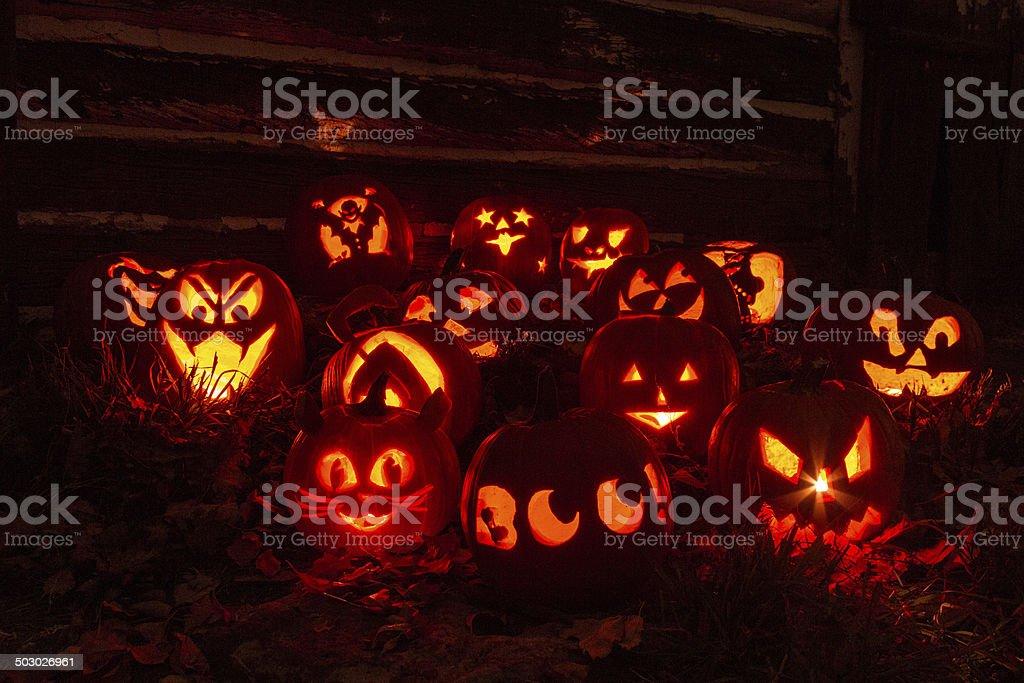 Lighted Halloween Pumpkins stock photo