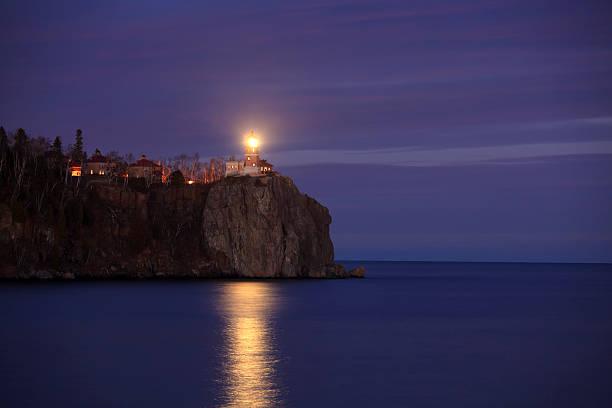 Lighted Lighthouse at Dusk