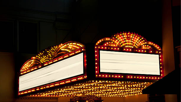lighted theater marquee at night with 2 copy space areas - movie theater stock photos and pictures