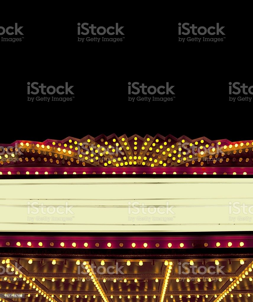 Lighted Theater Marquee at night with copy space areas stock photo