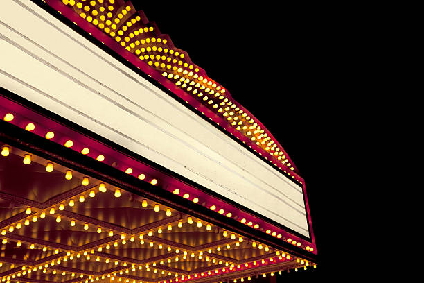 Lighted Theater Marquee at night with copy space A bright theater marquee with glowing yellow light bulbs. There is a dark starry night sky in the background. The marquee area is blank so that you can easily add your own text. The large black area in the sky is perfect for copy on the top and right side. theater marquee commercial sign stock pictures, royalty-free photos & images