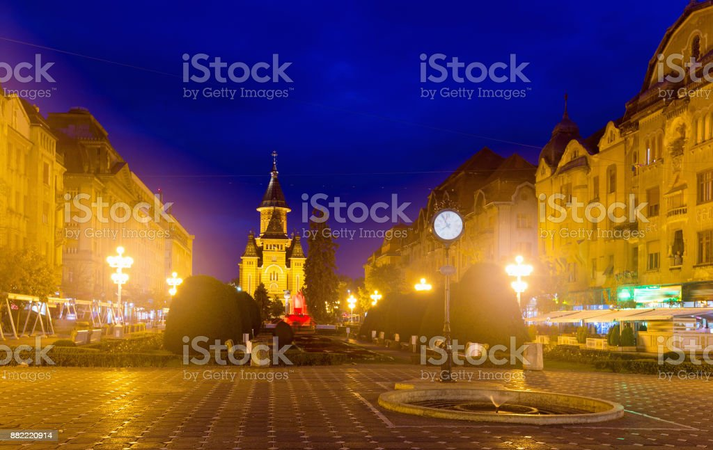 Lighted Victoriei Square and Orthodox Cathedral, Timisoara stock photo