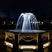 The lighted water fountains in Longwood gardens