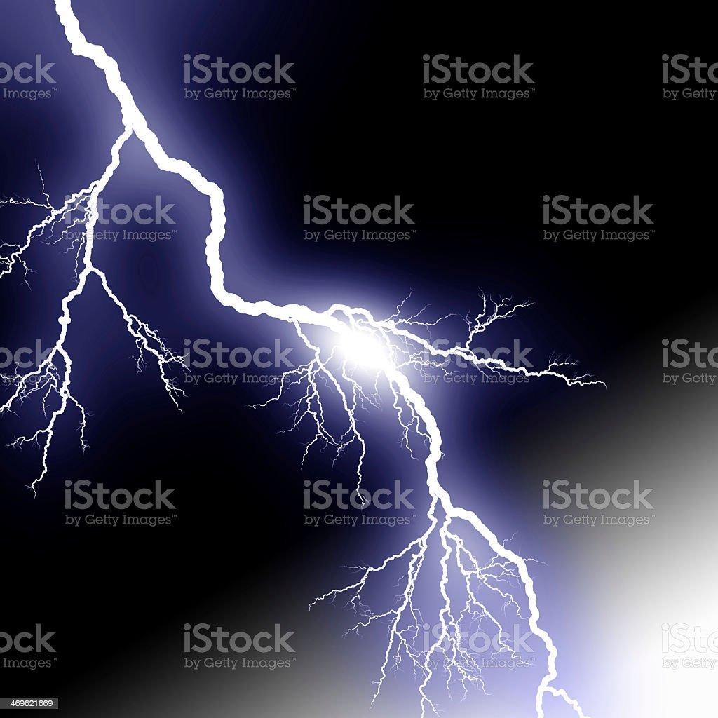 Lightening crashing on background stock photo