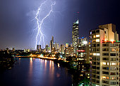 Electrical strom coming through surfers paradise with Q1 in the background