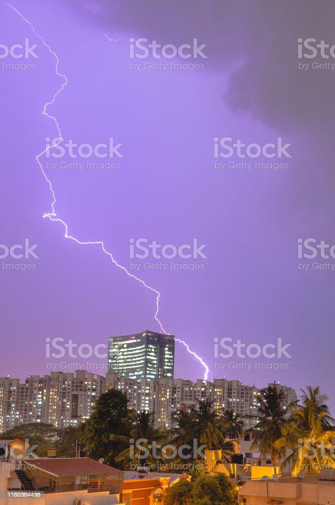 Lightening strikes the World trade center in Bangalore, Karnataka,...