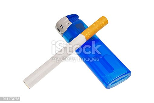 istock Lighter and cigarette on a white background 941170236