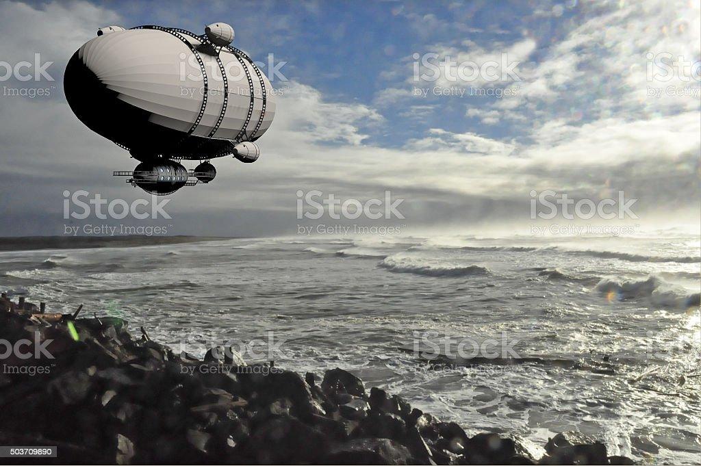 lighter than air dirigible stock photo