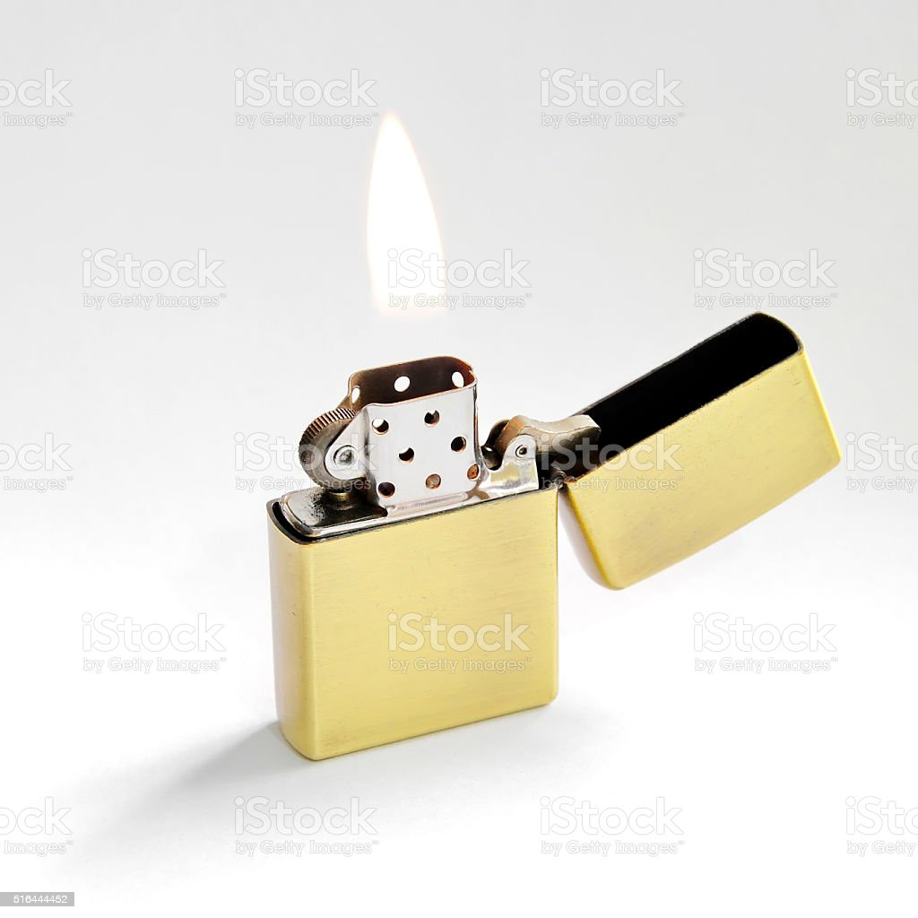 Lighter with Flame stock photo