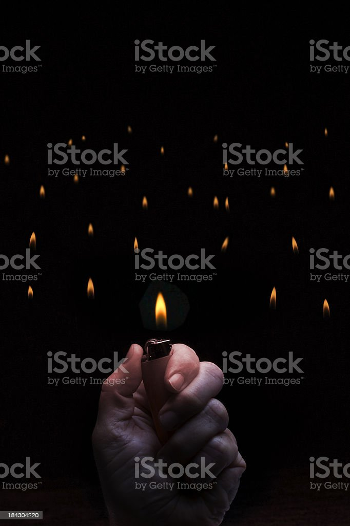 Lighters  in Audience stock photo
