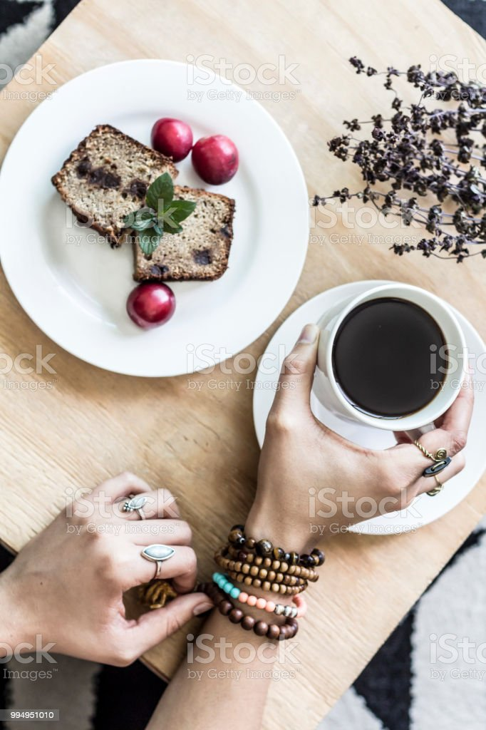 Lightfull flat lay of a coffee time  at home stock photo