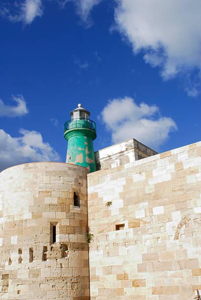 lighthouse among vibrant blue cloudy sky stock photo