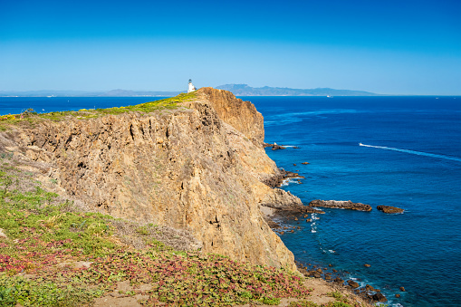 Lighthouse on Anacapa Island in Channel Islands National Park, California, USA on a sunny day