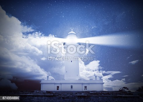 istock Lighthouse and bad weather in background 674334694
