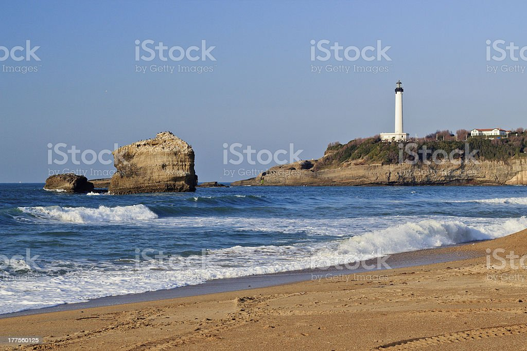 Lighthouse and Beach in Biarritz, France. bildbanksfoto