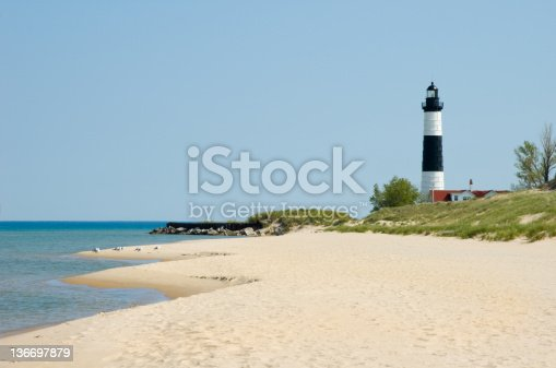 177362898 istock photo Lighthouse and Beach Sand Along Shoreline, Michigan Great Lakes Scenery 136697879