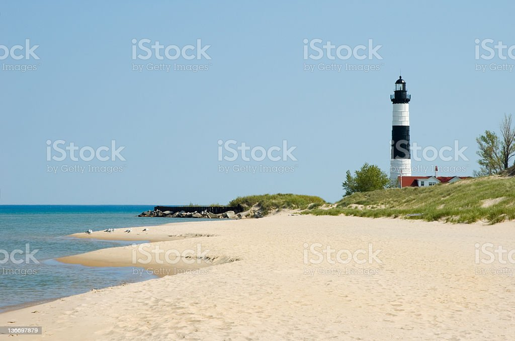 Lighthouse and Beach Sand Along Shoreline, Michigan Great Lakes Scenery stock photo